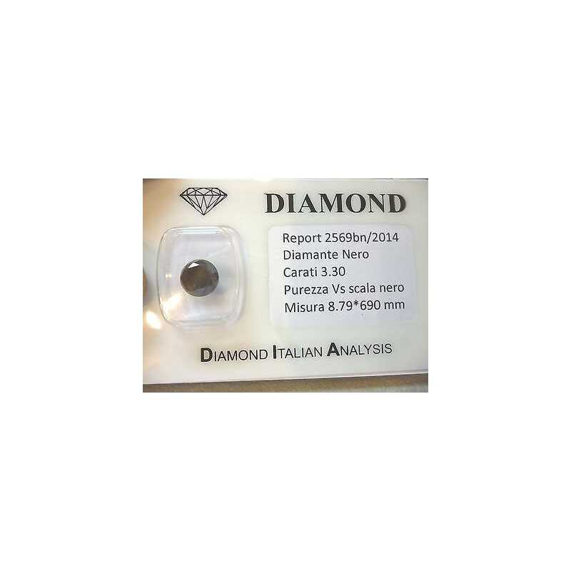 DIAMANTE NERO TONDO 3.30 CARATI SUPERIORE BRILLANTISSIMO L.to 5.0 3.0 2.00