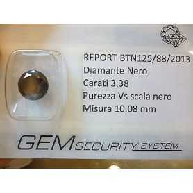 DIAMANTE NERO TONDO 3.38 CARATI SUPERIORE BRILLANTISSIMO L.to 5.0 3.0 2.0