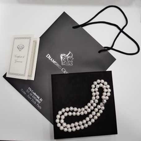 NECKLACE AKOYA PEARLS 10mm QUALITY AAA + PLATINUM MOUNTED 18 K GOLD WIRE 90 CM