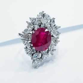 Ring in 18kt Gold with Diamonds and Ruby (VANITY)