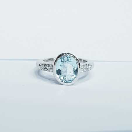 AQUAMARINE RING AND DIAMOND ct 0.15 GOLD 18 kt 7.80 g