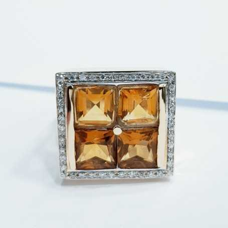 Ring citrines and diamonds 20.50 grams lot 1,00 0,50
