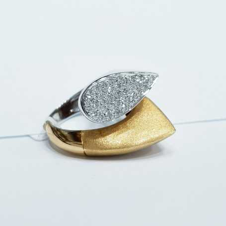 RING WHITE AND YELLOW GOLD WITH DIAMONDS 0,90 CT MIS 14