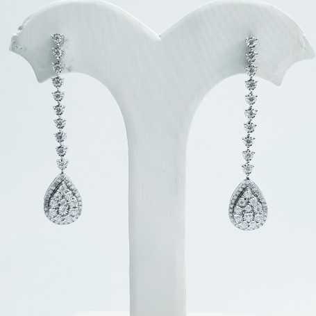 Earrings in 18kt white gold and certified natural diamonds - model (drop)