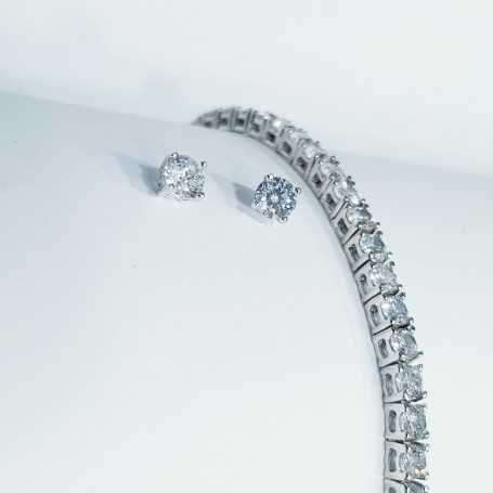 Offer bracelet and earrings in Silver 925 rhodium plated White Gold