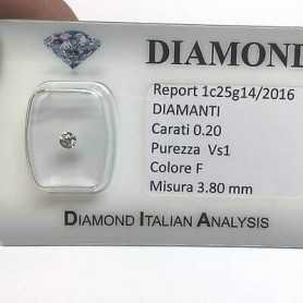 DIAMANTE SOLITARIO PUNTO LUCE 0.20 F color vs1 blister lotto 0.50 1.00 0.70
