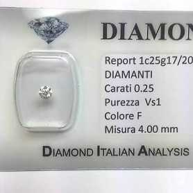 DIAMOND SOLITAIRE LIGHT spot 0.25 F-colour vs1 blister