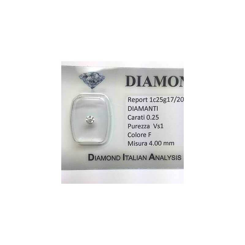 DIAMANTE SOLITARIO PUNTO LUCE 0.25 F color vs1 blister