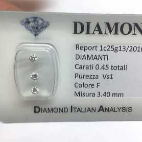 Trilogie de DIAMANTS de 0,45 F couleur vs1 blister lotto 0.50 1.00 0.70