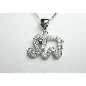 ELEPHANT PENDANT SILVER RHODIUM-PLATED GOLD DIAMOND LABORATORY HIGH MANUFACTURING