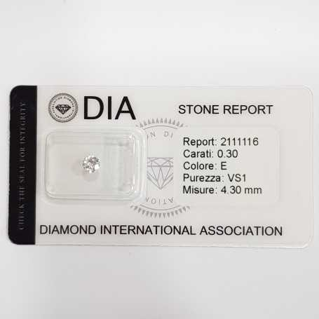 0.30 E VS1 DIA certified diamond in Blister-REP2111116