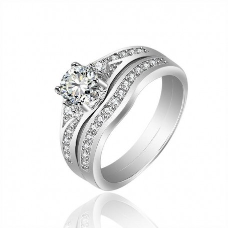 18K rhodium plated silver ring with gems-ASW0069