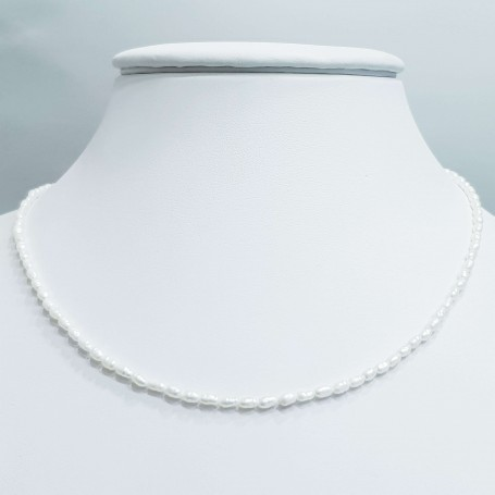 White baroque pearl necklace thread size 2mm length 40cm