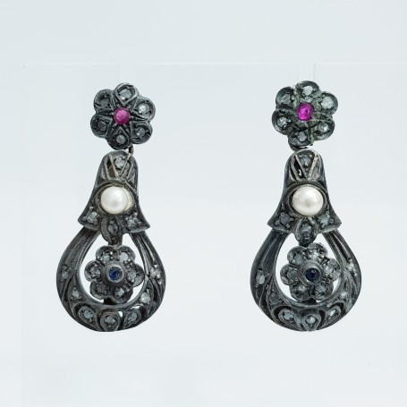 EARRINGS GOLD DIAMONDS 0.60 CARATS AND rubies