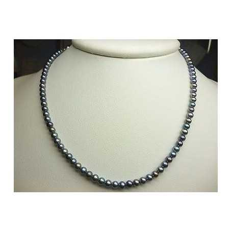 THREAD AKOYA PEARLS GREY 4.0 mm CARATS 62 mounted in RHODIUM-plated SILVER GOLD