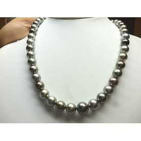 NECKLACE WITH PEARLS TAHITI PEARL GREY 10 12 MM DISCOUNT 60% QUALITA' PLATINUM