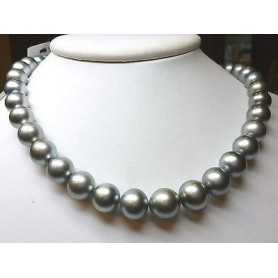 NECKLACE WITH PEARLS TAHITI PEARL GREY 10 14 MM 385 CAR. DISCOUNT 60 % QUALITA' PLATINUM