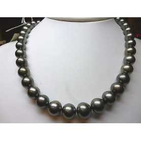 NECKLACE THREAD PEARLS, TAHITI BLACK PEARL 10 14 MM 385 CAR. DISCOUNT 60 % QUALITA' PLATINUM