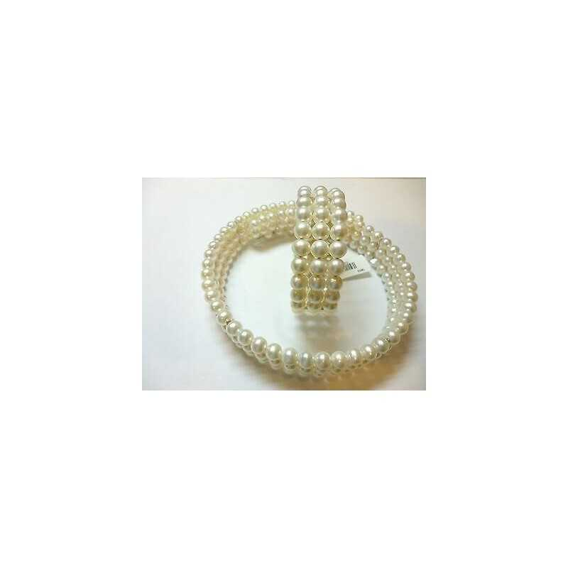 CREW NECKLINE BEAD BRACELET BIWA WHITE JAPAN WITH SILVER 925
