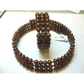 ENCOLURE DE L'ÉQUIPAGE BRACELET DE PERLES BIWA CHOCCOLAT BRUN JAPON EN OR 18 KT 80% DE RÉDUCTION