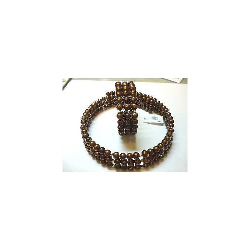 CREW NECKLINE BEAD BRACELET BIWA CHOCCOLAT BROWN JAPAN GOLD, 18 KT 80% DISCOUNT
