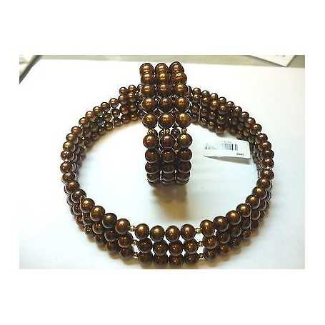 BRACELET AND CHOKER PEARLS BIWA JAPAN BROWN HIGH QUALITY INTERSECTIONS IN SILVER RHODIUM-PLATED 18 KT