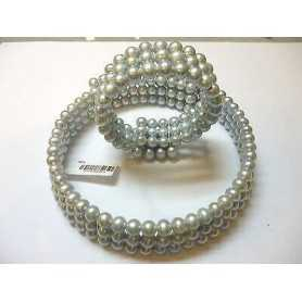 CREW NECKLINE BEAD BRACELET BIWA GRAY JAPAN WITH SILVER 925