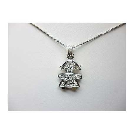 Pendant pendant in 18 kt white gold with natural diamonds