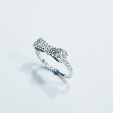925 rhodium plated silver bow ring with Cubic Zirconia (adjustable size)