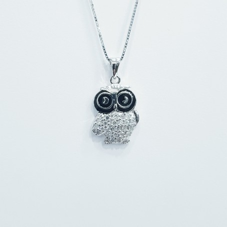 OWL PENDANT SILVER RHODIUM PLATED WHITE GOLD HIGH MANUFACTORY