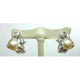 EARRINGS with DIAMONDS 0.50 CT VVS F COLOR ORO 18 KT GR 13.50 AKOYA Pearls