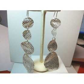 EARRINGS FILIGREE STERLING SILVER 925 RHODIUM-PLATED WHITE GOLD 16.00 GRAMS THE END OF THE SERIES
