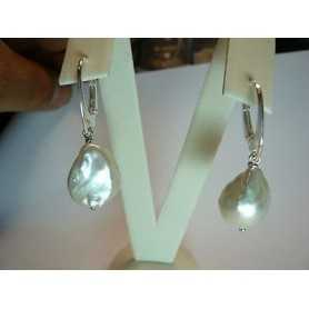 EARRINGS PEARLS SCARAMAZZE OR BAROQUE 42-CARAT SILVER QUALITY PLATINUM