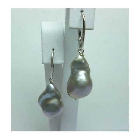 EARRINGS PEARLS SCARAMAZZE OR BAROQUE GREY 51-CARAT SILVER QUALITY PLATINUM