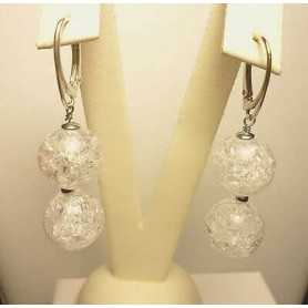 EARRINGS WHITE QUARTZ RUTILATED SIBERIAN WHITE TOPAZ 16.90 GRAMS