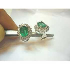 EARRINGS emeralds 4 carat diamond 2.10 gold lotto 2.0 1.00 2.00