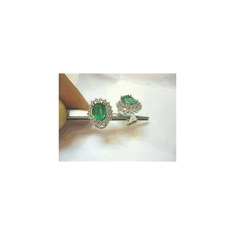 BOUCLES d'oreilles en émeraudes 4 carats de diamants 2.10 gold lotto 2.0 1.00 2.00