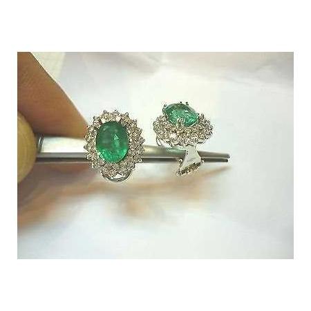 EARRINGS emeralds 4 carat diamond 2.10 gold lotto 2.0 1.00 2.00