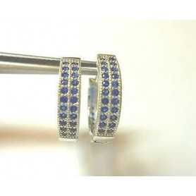 EARRINGS SAPPHIRE CUBIC ZIRCONIA ULTIMIRIMASTI SILVER RHODIUM-PLATED WHITE GOLD