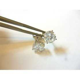 EARRINGS CUBIC ZIRCONIA RUSSIANS 1.50 CARAT TOTAL SILVER