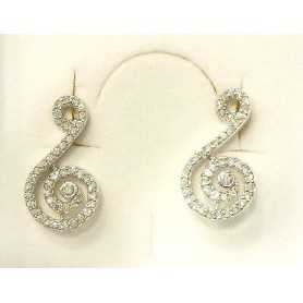 EARRINGS ZIRCONIA AS DIAMONDS SHAPED MUSIC NOTE SILVER LOTTO 1.0 0.50