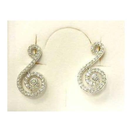EARRINGS ZIRCONIA AS DIAMONDS SHAPED MUSIC NOTE SILVER LOTTO 1.0 0.50