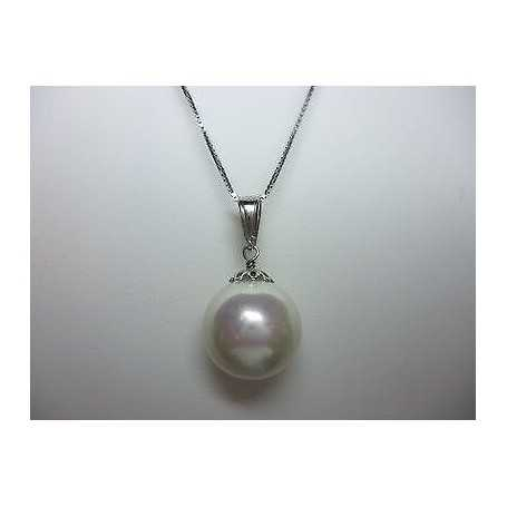 PEARL MOTHER OF PEARL SILVER RHODIUM-PLATED WHITE GOLD WITH CHAIN