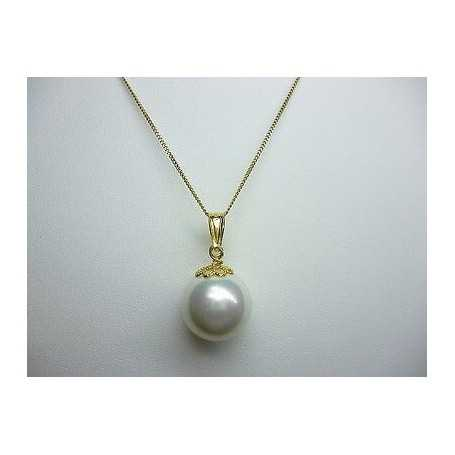 PEARL MOTHER OF PEARL RHODIUM-PLATED SILVER WITH YELLOW GOLD WITH CHAIN