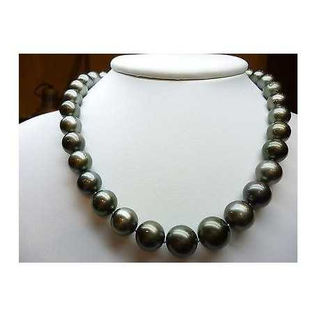NECKLACE PEARL TAHITIAN BLACK WIRE MOUNTED IN GOLD 18 KT 50% DISCOUNT