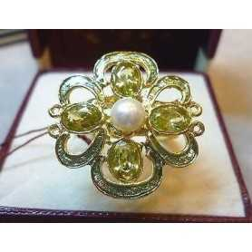 RING SILVER with CITRINE YELLOW and PEARL CENTRAL the LAST few REMAINING