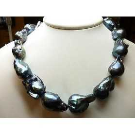 PEARLS JAPAN BIWA BLACK GIANT FROM 19 TO 24 675 CARATS UNICHEEEEEEEEEE