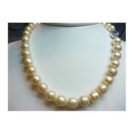 PEARLS JAPAN BIWA SALMON 11 mm WEIGHT 329 CARATS CLASP SILVER rhodium-plated GOLD