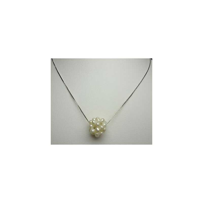 JAPANESE PEARLS PENDANT WITH CHAIN SILVER