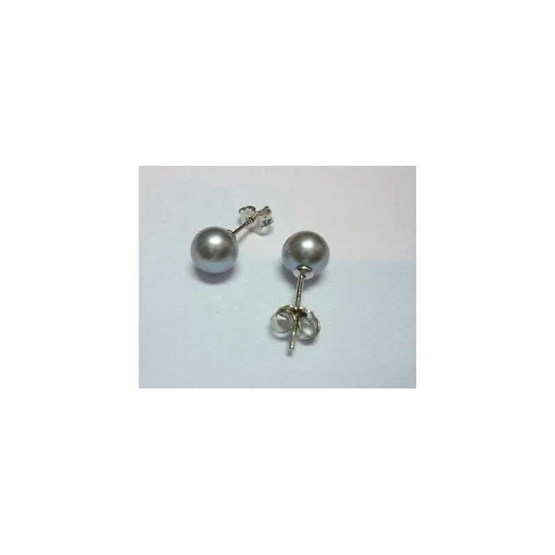 PEARL GRAY CLEAR SILVER TAHITIAN 7.5 mm EARRINGS 18 K WHITE-GOLD 1.90 GR.